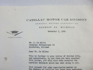 1960 Cadillac Motor Car Division Company Letter Letterhead