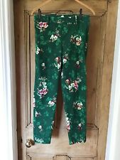 H&M Ladies Ankle Grazers Trousers Green Floral Size 10 With Stretch