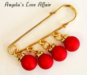 CHRISTMAS GOLD 4 RED BALLS CRYSTAL DANGLE SAFETY PIN BROOCH PASHMINA SCARF KILT