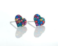 Sterling Silver 6mm Multi-Colour Shamballa Crystal Heart Stud Earrings