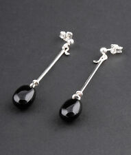 Georg Jensen Sterling Silver Dew Drop # 144 Earrings with Black Agate. Torun