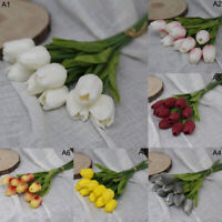 10Pcs Artificial Tulip Fake Flowers Small Bouquet Garden Room Home Wedding Decor
