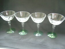 New listing 4 Martini Glasses Rich Green Bases & Etched Floral Leaf Design Classy!