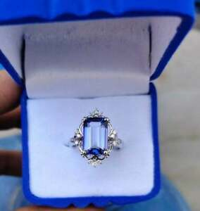 3Ct Emerald Cut Vintage Blue Sapphire Engagement Ring 14K White Gold Finish