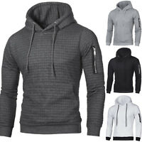 Men's Plain Hooded Hoodie Sweatshirt Jacket Sports Work Tops Pullover Jumper US