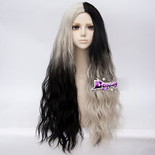 70CM Black Mixed Blonde Lolita Curly Hair Harajuku Easter Ombre Cosplay Wig