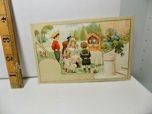 Punch & Judy Children's Toy Puppet Show Art Nouveau Post Card c1900s