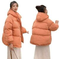 Women's Short Winter Coat Cotton Down Quilted Hooded Puffer Jacket Casual Warm D