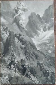 WW1 ITALIAN MOUNTAIN SOLDIERS Italia Turrita ALPS Orphans Patriotic PC c1915