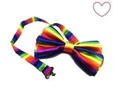 Rainbow Bow Tie Happy Gay Pride Satin Costume Party Fancy Dress