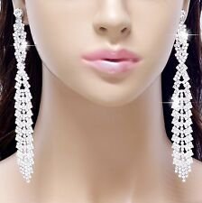 "#E121T 5"" LONG CLIP ON EARRINGS Wedding Deluxe Clear Crystal Chandelier Drop NEW"