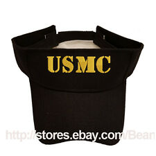 USMC MARINE TEXT BLACK SUN VISOR MILITARY LAW ENFORCEMENT