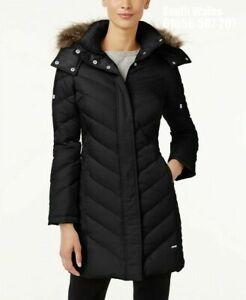 New Kenneth Cole Fur Trim Chevron Parka Coat Puffer Jacket Blk Sz UK 6/8