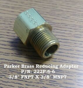 "Parker 3/8"" FNPT x 3/8"" MNPT Brass Reducing Adapter, 222P-6-6"