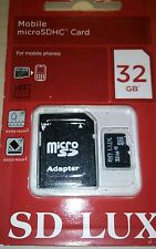 Carte Mémoire SD LUX 32GB Class10 Micro SD Memory Card + SD Adaptateur