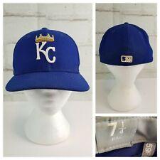 MLB Kansas City Royals New Era 59FIFTY Fitted Ball Cap Sz 7 1/4 Blue Crown Logo