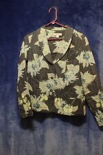 ♕ Woman's Printed Jacket by Coldwater Creek size S~Charcoal/mint floral