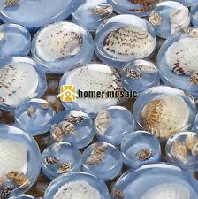 big and small round blue sea shell mosaic for bathroom shower tiles backsplash