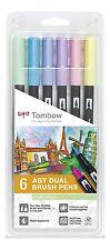 Tombow Dual Pincel consejos de Fieltro Bolígrafos Marcadores Pastel-Paquete de 6