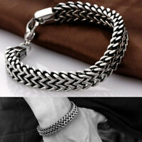 Stainless Steel Cuban Curb Link Chain Bracelet Men Women Hip Hop Jewelry