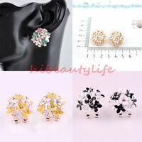 Fashion Women Lady Elegant Flower Pearl Rhinestone Ear Stud Earrings 1 pair hi
