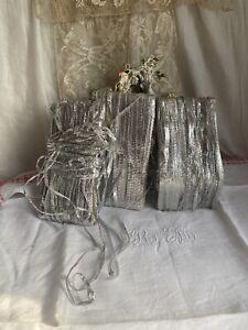Antique Silver Ribbon Vintage Lame Tape Trim Millinery Old Stock Haberdashery/3m