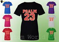 Women T-Shirt - PSALM 23 Lord Bible Religious Shirts Jesus Christian New XT