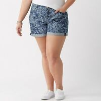 New! $60 Lane Bryant Bermuda Denim Shorts Pattern Blue Chambray Tahitian Print