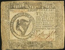 Colonial Currency September 26, 1778 $8 Very Fine