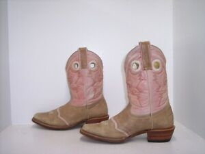 STEPHY BOOTS BY LAMAS Tan & Pink Leather Western Boots Women's Size 7.5