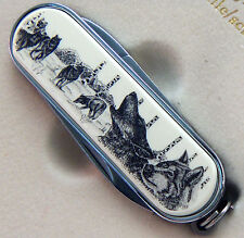 Swiss Knife Barlow Scrimshaw Carved Painted Art Wolf Wolves Portrait  506686 NEW