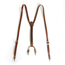 "Mens Leather Suspenders Y-Back Retro Braces Clip-On Brown M size 40""-46"""