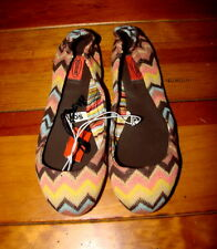 GIRLS KIDS BALLET FLATS MISSONI FOR TARGET NEW SHOES BROWN ZIG ZAG FALL COLORS 2
