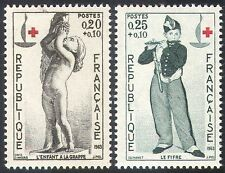 France 1963 Red Cross/Medical/Health/Welfare/Statue/Music/Art 2v set (n30437)