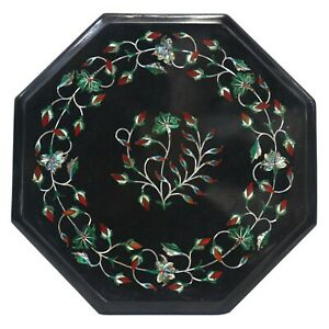 Black Marble Inlay table Top Inlaid With Semi-Precious Gems Stone For Side table