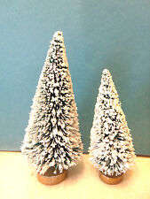 2 Mini Flocked Green Trees Sisal Bottle Brush Christmas Putz Village Garden Lot
