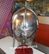 Medieval Armor Viking Mask Helmet With Chain Mail Helmet With Red Wooden Stand
