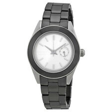 DKNY White Dial Black Ceramic Ladies Watch NY2143