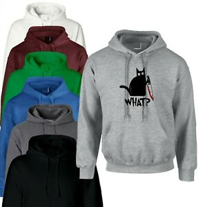 HALLOWEEN CAT WITH KNIFE WHAT MURDEROUS CAT FUNNY PARTY UNISEX HOODIE HOODY HOOD