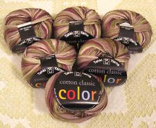 Tahki Cotton Classic 115 Green Tan Gray Variegated Yarn -- 6 Skeins + Free Gift!