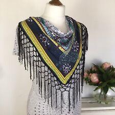 Desigual Casual Dress 10 M Medium Lightweight Scarf Fringe Cowl Gray Stretchy