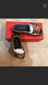 NEW Donald J Pliner Cava Beaded Aztec Wedge Sandals Women's US 5.5