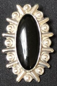 Vintage Sterling Silver Long Onyx Pendant Signed CIT 925 Mexico Oval Gemstone