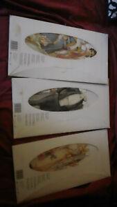 THREE VINTAGE PAPER DOLL SETS, BRIDE, GROOM, BRIDES MAID, STANDING DOLL 3 OUTFIT