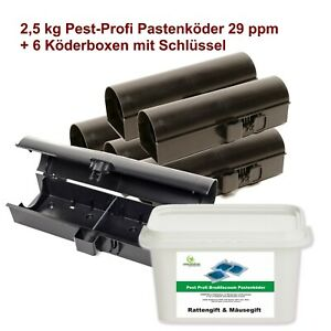 2,5 kg Rattengift Pastenköder 29ppm + 6 Ratten - Mäuse Köderstation Mäusegift