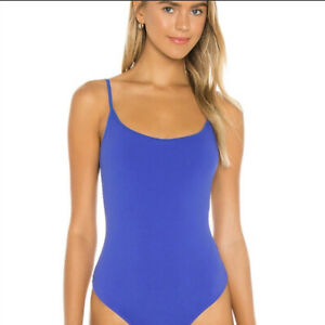 Free People Womens Royal Blue Casual Strappy Basique One Piece Bodysuit Size XL