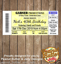 30th 40th 50th 65th ANY AGE birthday concert football ticket Invitation x 10