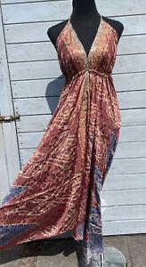Sari Dress Recycled Fairycore Cottagecore Boho hippie Festival size 8 - 16 plus