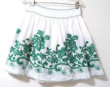 Green Embroidered Floral White Cotton Mini Skirt Medium Studio M
