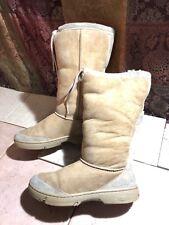UGG Sz 8 US Boots 5250 Tan Beige Sheepskin Ultimate Tall Drawstring Cuff Womens